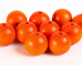 Dollar Sale Clearance - 12mm orange Round Czech painted wood beads 10pc  (067)
