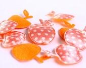 Dollar Sale Clearance - Orange apple polka dots applique satin felt 17x21mm 10pc (166) - SALE