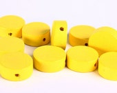 Yellow sunshine wood large lens disk bead 13mm 10pc (271) - Flat rate shipping