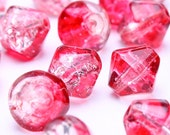 Dollar Sale Clearance - 6mm - 8mm red mixed color bicone crackle glass bead 20pcs (192)