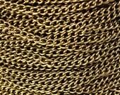 3.7mm x 2.5mm antique brass twist chain - antique bronze twist chain - 10 feet (548)