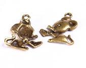 10 Mouse charm pendant antique brass antique bronze 10pcs (572) - Flat rate shipping