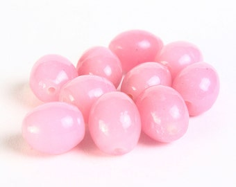 Dollar Sale Clearance - Pink oval beads - opaque beads - glass beads - 8mm x 10mm - 10 pieces (036) -  SALE
