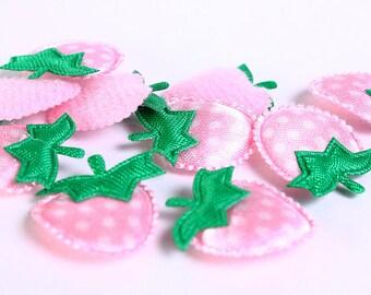 Dollar Sale Clearance - Pink strawberry polka dots applique satin felt - 18mm x 22mm - 10 pieces (169) - SALE