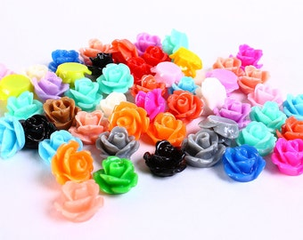 10mm flower cabochons - Mixed color - Rose cabochons - Rosebud cabochons - Mix cabochons (182) - Flat rate shipping