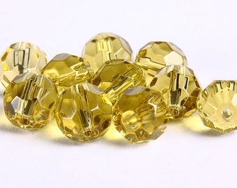 10pc Jonquil yellow firepolish faceted round glass bead 10mm (242) - Flat rate shipping