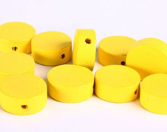 13mm yellow wood beads - Flat round beads - Yellow large lens beads - yellow disk bead - 10 pieces (271) - Flat rate shipping