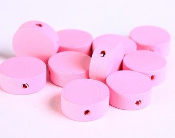 13mm Pink wood beads - Flat round beads - Pink large lens beads - Pink disk bead - 10 pieces (272) - Flat rate shipping