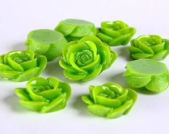 18mm 10pcs green lucite rose rosebud cabochon (371) - Flat rate shipping