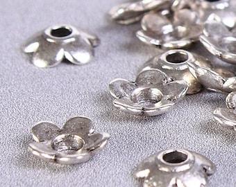 6.5mm Petite flower bead caps - Tibetan Silver flower beadcaps - 6.5mm flower beadcaps - rustic bead caps (424) - Flat rate shipping