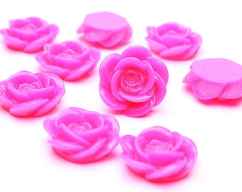 18mm Hot pink flower cabochons - Floral cabochon - Rosebud cabochons - Rose cabochons - 5 pieces (472) - Flat rate shipping