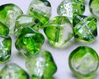 Sale Clearance 20% OFF - 6mm to 8mm green and clear bicone beads - mixed color crackle beads - glass beads (199)