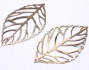 54mm x 31mm Antique brass leaf charms - Antique brass leaf pendant - Antique brass leaves - Nickel free (544) - Flat rate shipping