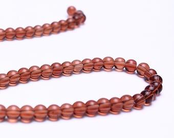 4mm brown glass beads - Round druk glass beads - full strand (580) - Flat rate shipping