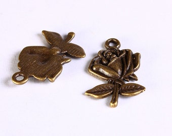 Flower charm - Rose pendants - antique brass - 25mm x 17mm  - Lead free - Cadmium free - 8 pieces (604) - Flat rate shipping