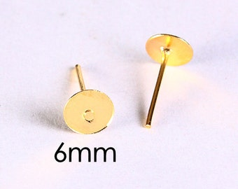 6mm earstud golden color findings flat pad (609) - Flat rate shipping