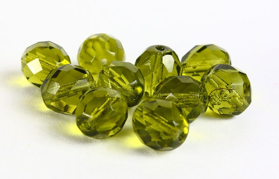 Olivine round Czech fire polished glass beads green 10mm 10pc  (008) - Flat rate shipping