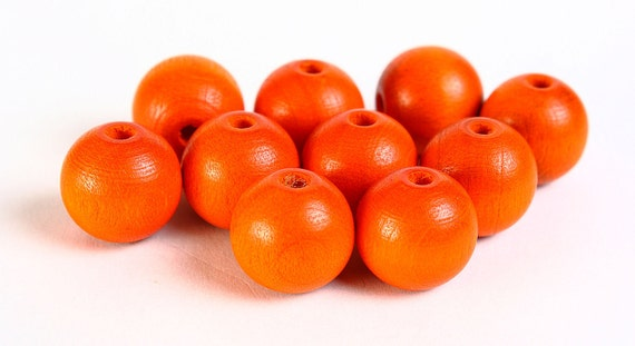 12mm orange Czech beads - 12mm orange round beads - 12mm painted wood beads (067) - Flat rate shipping