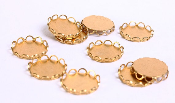 10pc 9mm brass lace edge settings (119) - Flat rate shipping