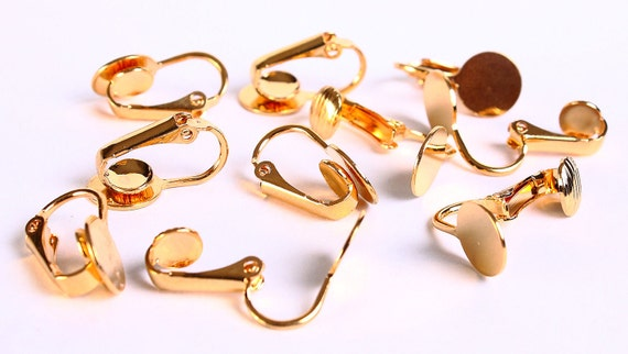 Sale Clearance 20% OFF - 10 pc Gold Plated Clip On Earrings 9mm Flat Smooth Pad (121)
