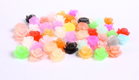 11mm frosted flower cabochon - lucite rose resin floral cabochon - mixed color - 20 pieces (183) - Flat rate shipping