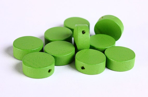 13mm Green wood beads - Green flat round beads - Green large lens beads - Green disk bead - 10 pieces (262) - Flat rate shipping