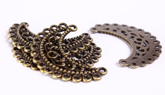4 pc Chandelier component flower pendant antique brass half moon links 35mm (423) - Flat rate shipping