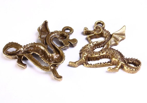 1 Dragon charm pendants antique brass antique bronze 1pc (555) - Flat rate shipping