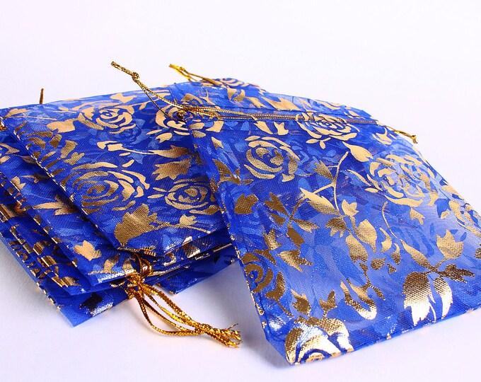90mm x 70mm Royal blue and gold organza gift bag - 9cm x 7cm blue and gold flower bag - Organza bag (173) - Flat rate shipping