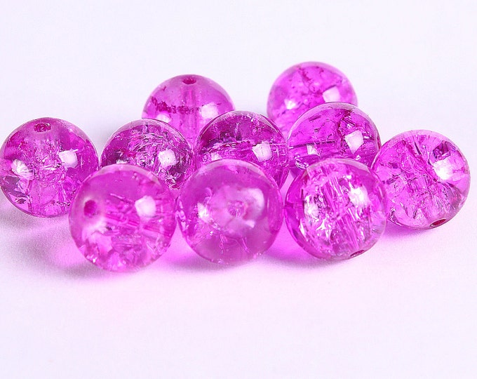 10mm hot pink round crackle glass bead - Pink crackled beads - 10 pieces (229) - Flat rate shipping