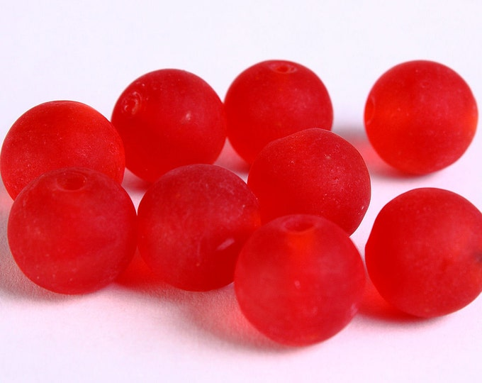 12mm Red handmade frosted lampwork beads - 12mm round glass beads (276) - Flat rate shipping