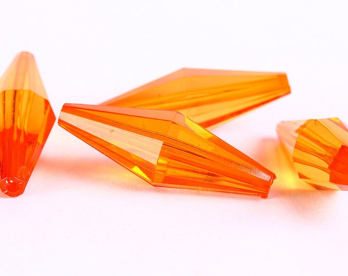 Sale Clearance 20% OFF - Orange bicone faceted beads - 36mm x 12mm - 4 pieces (333)