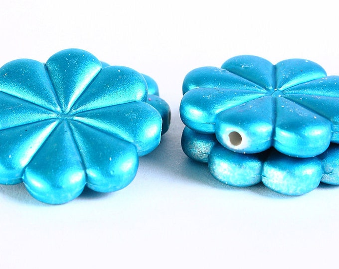 Sale Clearance 20% OFF - 23mm Blue rubber flower beads - 4 pieces (365)