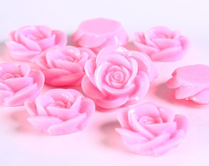 18mm Pink rose cabochons - 18mm Pink rose cabochons - 18mm rosebud cabochons - 10 pieces (374) - Flat rate shipping