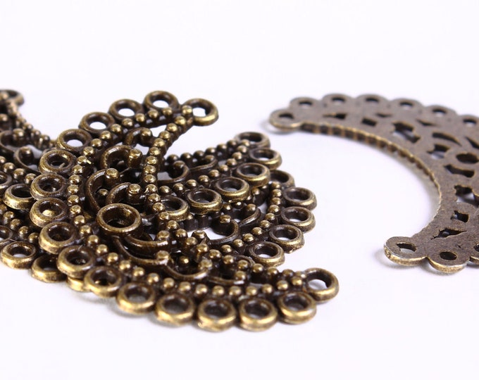 35mm Chandelier component flower pendant - antique brass half moon links - Lead free - Nickel free (423) - Flat rate shipping