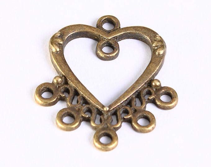 25mm Antique brass Chandelier component - tibetan style heart links - 25mm connectors - 8 pieces (489) - Flat rate shipping