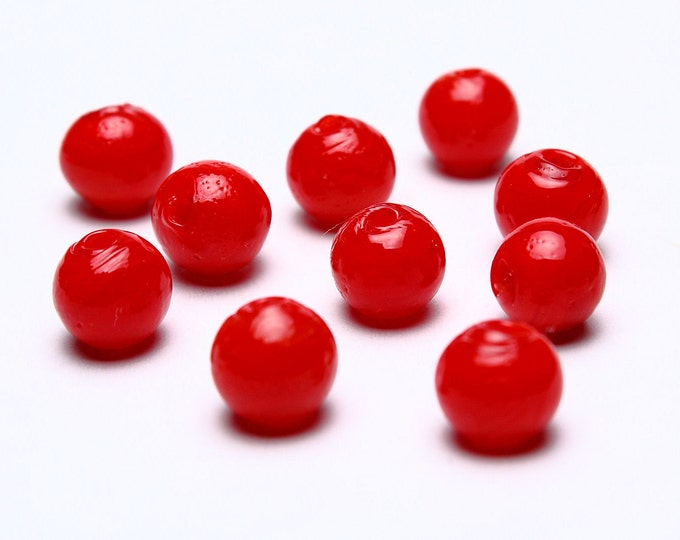 8mm Red lampwork beads - 8mm red handmade lampwork beads - 8mm round glass bead - Opaque beads (546) - Flat rate shipping