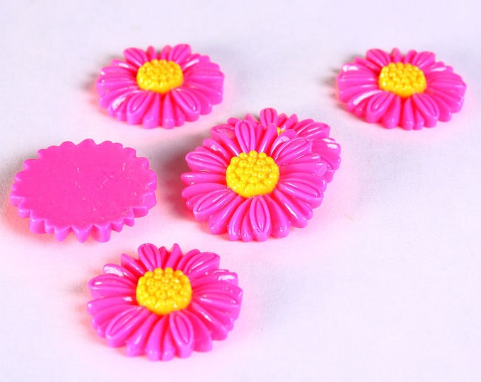 Sale Clearance 20% OFF - 6pc 27mm lucite rose resin flower cab cabochon daisy hot pink fuschia 6 (619)