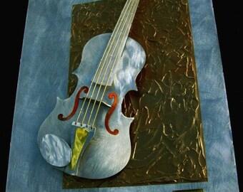 Metal Wall Art Violin Sculpture, Home Decor, Musical Art, Design by Alex Kovacs - AK46