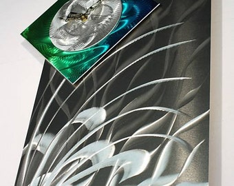 Abstract Painting Clock on Metal, Contemporary Metal Wall Clock Art, Modern Metal Wall Clock Sculpture, Design by Alex Kovacs - AK324