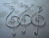 RESERVED - Treble Clef Ornaments - Set of 5 - Aluminum with Sterling Silver Plated Hooks - Music Note - G Clef