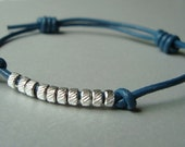 Womens Leather Bracelet - Silver Ridged Bead Nuggets - Adjustable Cuff - Beaded Blue Leather