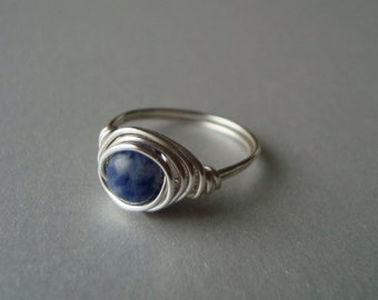 Self Esteem, Creativity, Metabolism - Sodalite Ring - Wire Wrapped - Reiki Charged Chakra Jewelry - Blue Stone - Sterling Upgrade Available