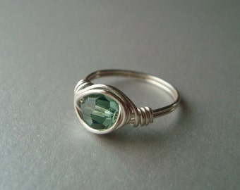 Green Swarovski Crystal Ring - Wire Wrapped - Silver Cocktail Ring - Erinite - Spring Jewelry - Sterling Upgrade Available