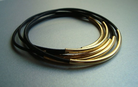 Black Leather Bangle Bracelets with Gold Plated Curved Tubes - Set of 5 - Minimalist Jewelry - Rocker Chic