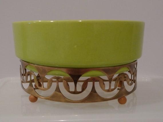 Vintage TV Lamp Ceramic Planter Chartreuse Green Gold Brass Metal Base 50's Mod Retro Lighting FREE SHIPPING