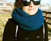 Teal Knit Circle Scarf/Cowl