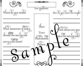Photo Booth Wedding Guest Book Page - PDF File Template 8.5 X 11 inches - for 2 x 6 inch photo booth strips
