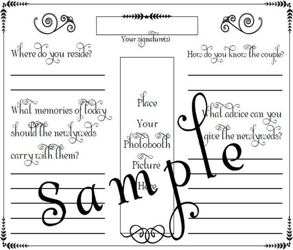 Items similar to Photo Booth Wedding Guest Book Page PDF File – Guest Book Template