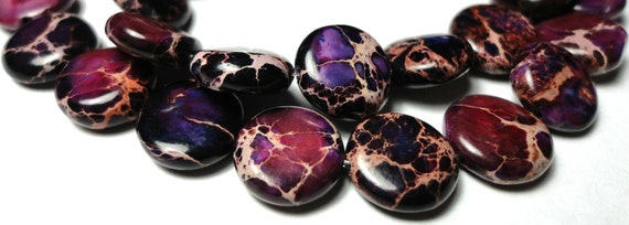 "10mm purple sea sediment jasper coins16"" strand"